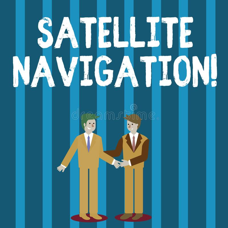Word writing text Satellite Navigation. Business concept for system providing autonomous geospatial positioning Two. Word writing text Satellite Navigation vector illustration