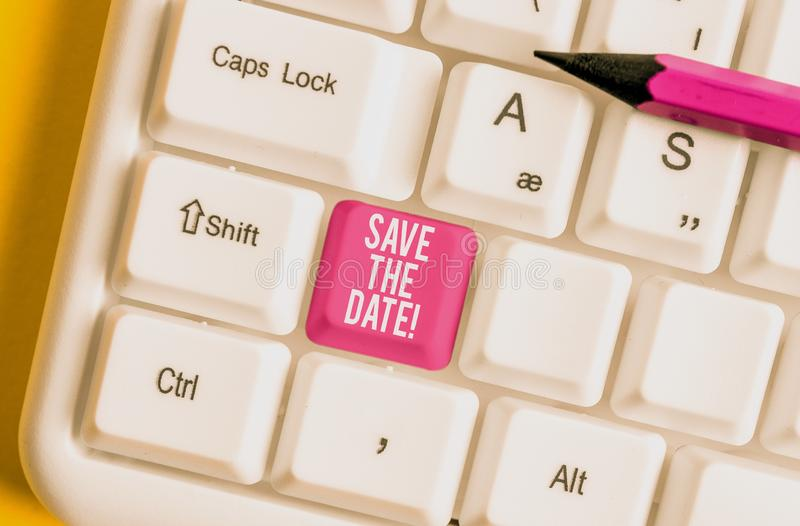 Word writing text Save The Date. Business concept for Organizing events well make day special event organizers White pc. Word writing text Save The Date royalty free stock image