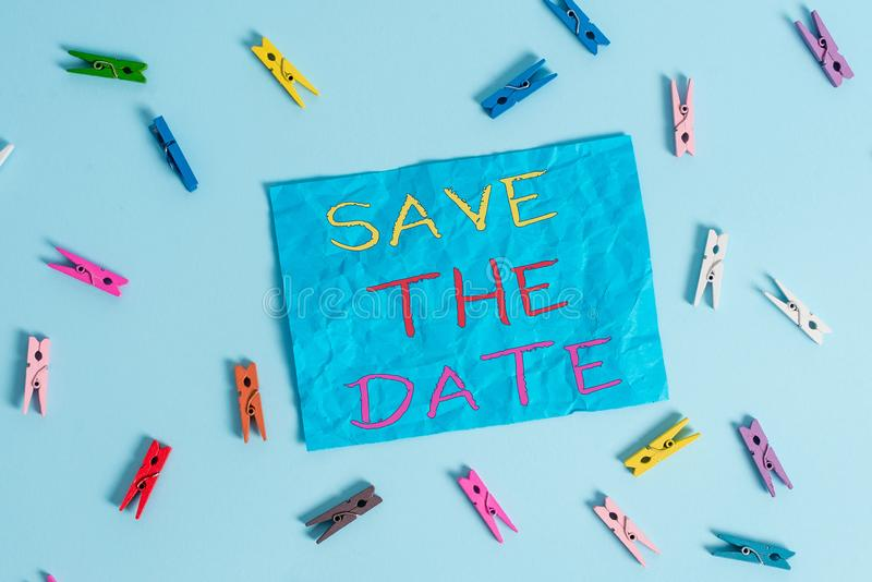 Word writing text Save The Date question. Business concept for asking someone to remember specific day or time Colored stock photo