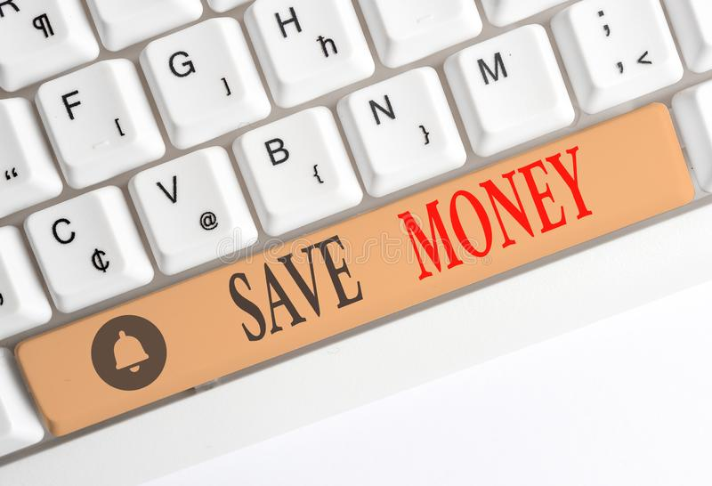 Word writing text Save Money. Business concept for store some of your cash every month to use them sometime later White. Word writing text Save Money. Business royalty free stock images