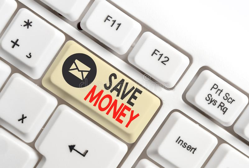 Word writing text Save Money. Business concept for store some of your cash every month to use them sometime later White. Word writing text Save Money. Business royalty free stock photos