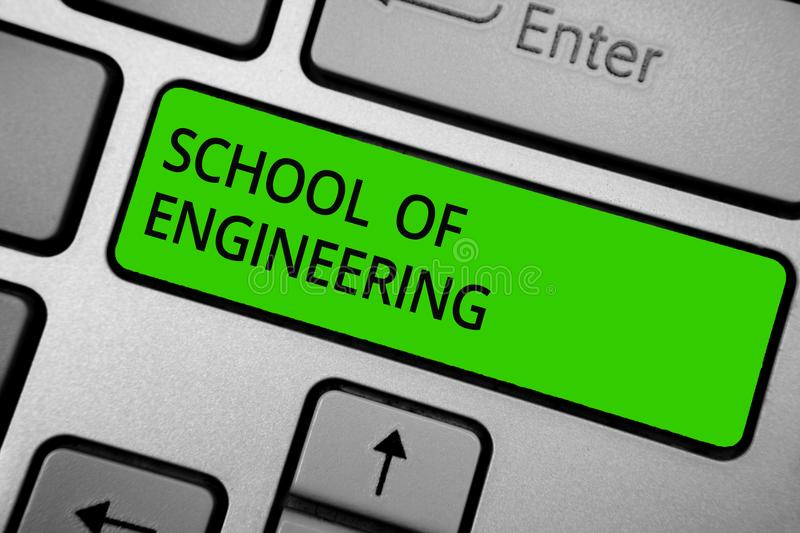 Word writing text School Of Engineering. Business concept for college to study mechanical communication subjects Keyboard green bu. Tton hit key typing work use stock images