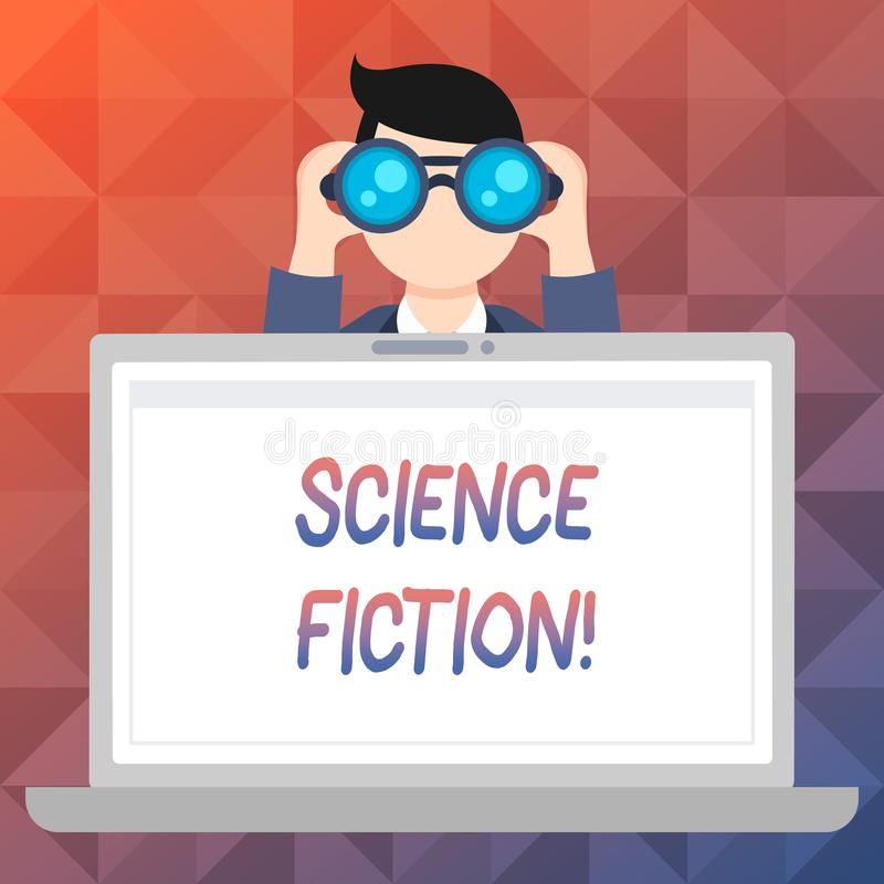Word writing text Science Fiction. Business concept for Fantasy Entertainment Genre Futuristic Fantastic Adventures. Word writing text Science Fiction. Business vector illustration