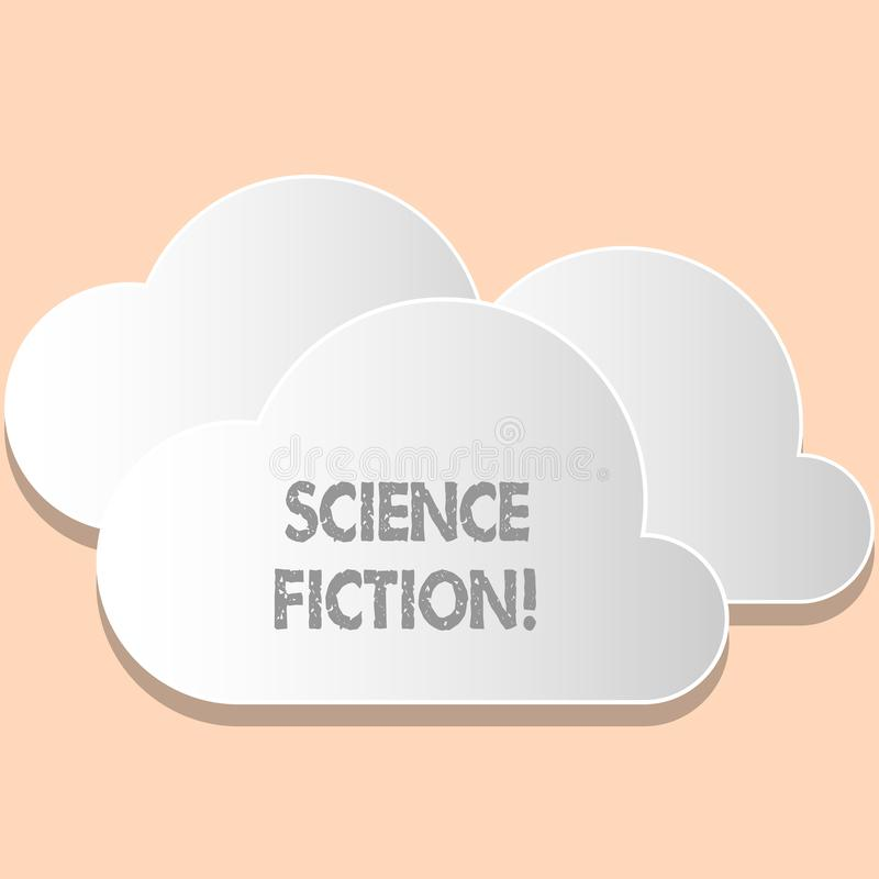 Word writing text Science Fiction. Business concept for Fantasy Entertainment Genre Futuristic Fantastic Adventures. Word writing text Science Fiction. Business royalty free illustration
