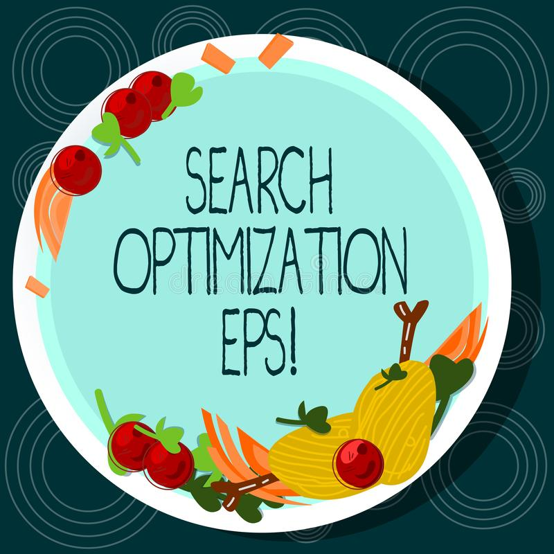 Word writing text Search Optimization Eps. Business concept for process affecting the visibility of a website Hand Drawn Lamb. Chops Herb Spice Cherry Tomatoes stock illustration