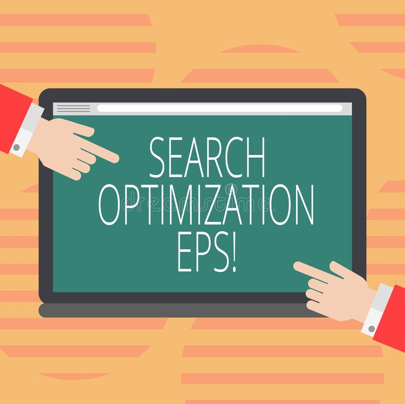 Word writing text Search Optimization Eps. Business concept for process affecting the visibility of a website Hu analysis Hands. From Both Sides Pointing on a stock illustration