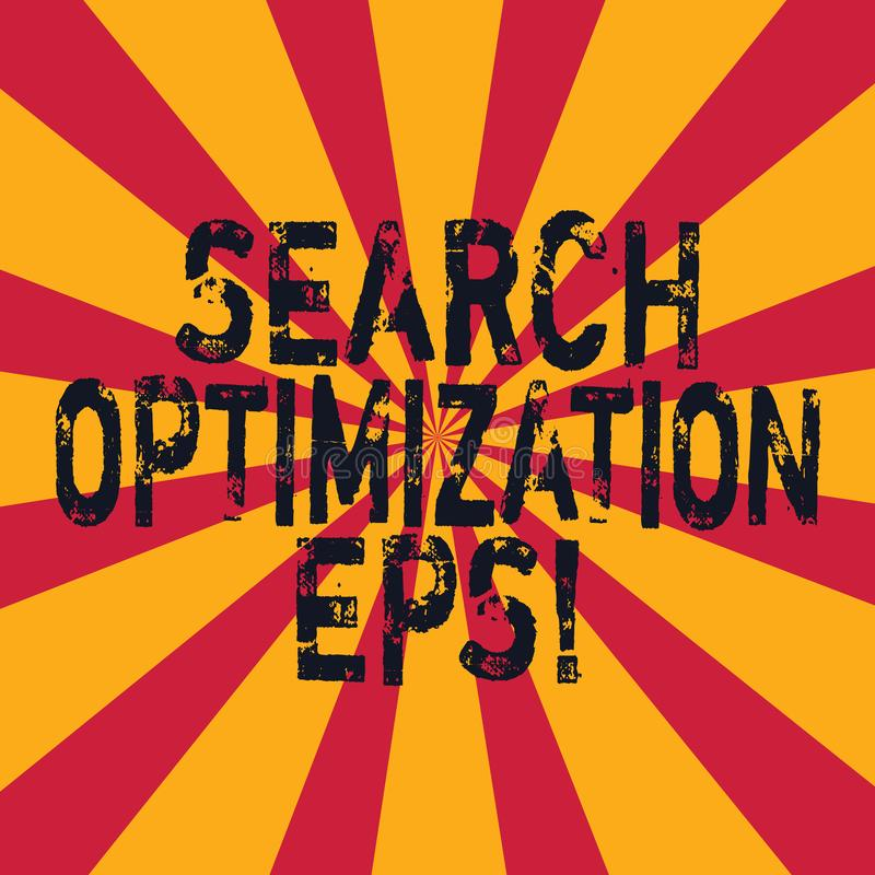 Word writing text Search Optimization Eps. Business concept for process affecting the visibility of a website Sunburst photo two. Tone Explosion Effect for vector illustration