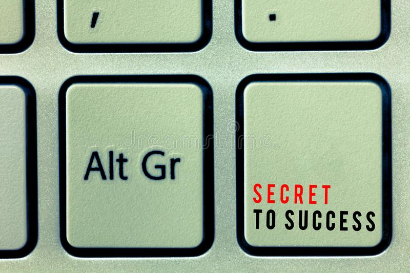 Word writing text Secret To Success. Business concept for Unexplained attainment of fame wealth or social status.  stock photos