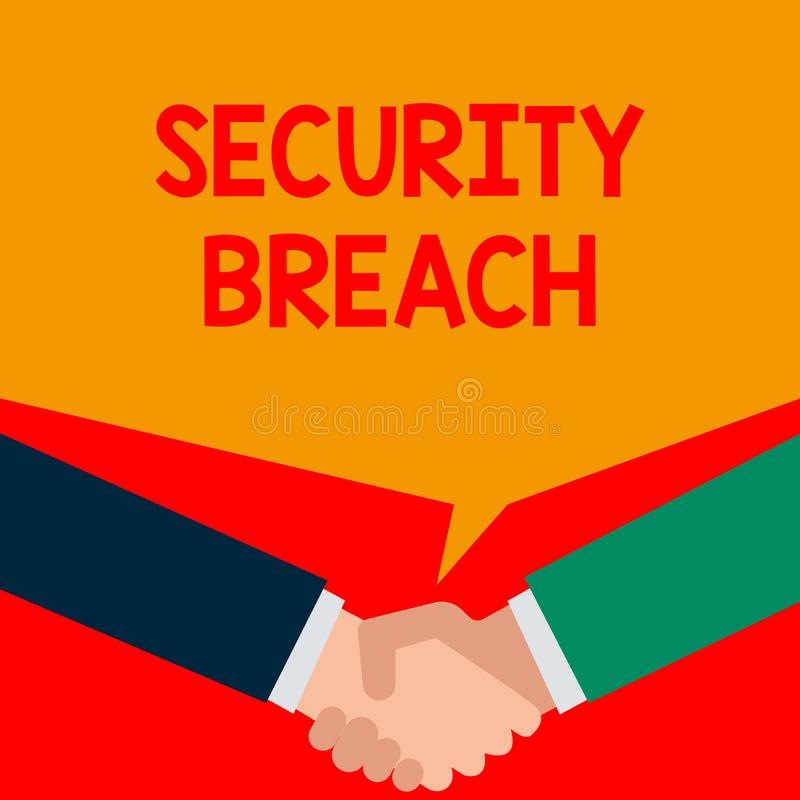 Word writing text Security Breach. Business concept for incident that results in unauthorized access of data Two persons. Word writing text Security Breach royalty free illustration