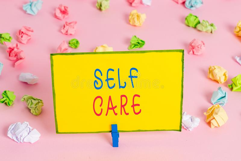 Word writing text Self Care. Business concept for the practice of taking action to improve one s is own health Colored. Word writing text Self Care. Business stock photography