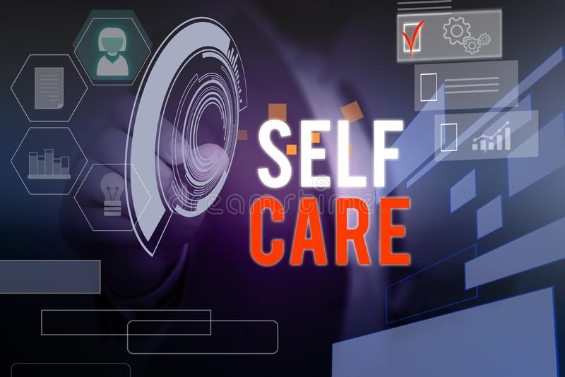 Word writing text Self Care. Business concept for the practice of taking action to improve one s is own health Male. Word writing text Self Care. Business photo royalty free stock photo