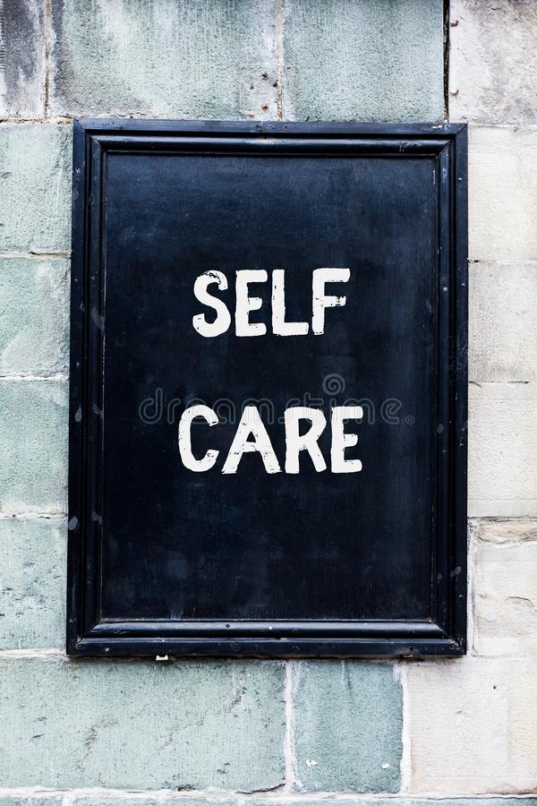 Word writing text Self Care. Business concept for the practice of taking action to improve one s is own health. Word writing text Self Care. Business photo stock photos