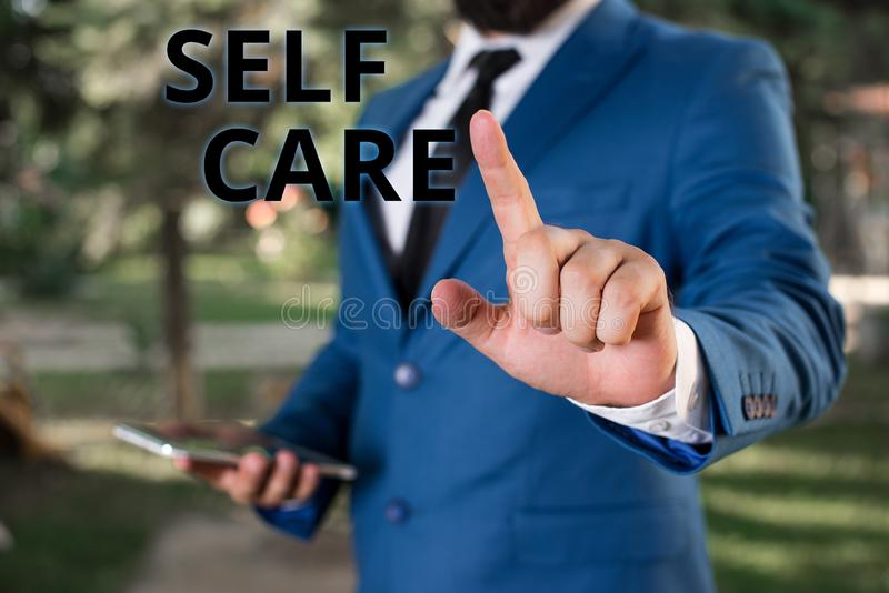 Word writing text Self Care. Business concept for the practice of taking action to improve one s is own health. Word writing text Self Care. Business photo stock photography