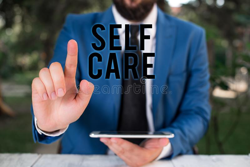 Word writing text Self Care. Business concept for the practice of taking action to improve one s is own health. Word writing text Self Care. Business photo royalty free stock photography