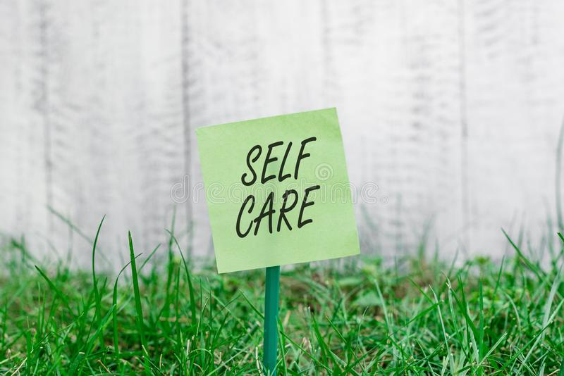Word writing text Self Care. Business concept for the practice of taking action to improve one s is own health Plain. Word writing text Self Care. Business photo royalty free stock photos
