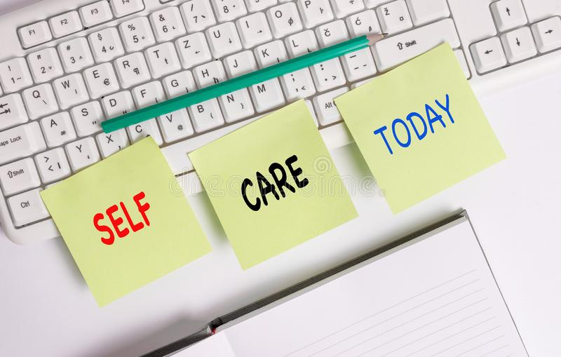 Word writing text Self Care. Business concept for the practice of taking action to improve one s is own health Three. Word writing text Self Care. Business photo royalty free stock photos
