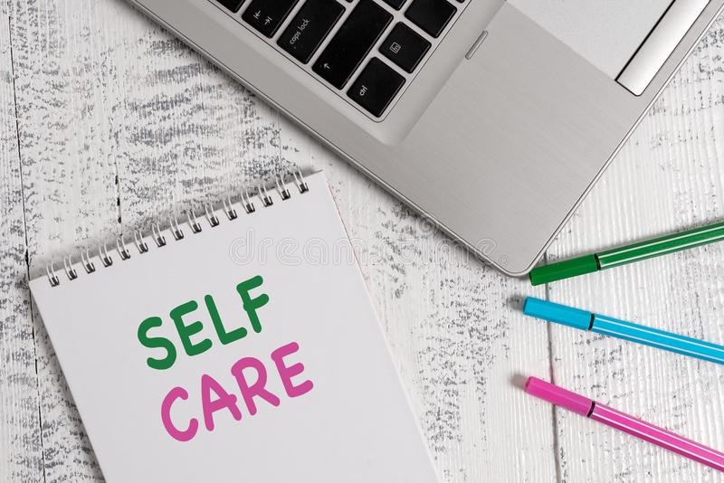 Word writing text Self Care. Business concept for the practice of taking action to improve one s is own health Top. Word writing text Self Care. Business photo stock photography