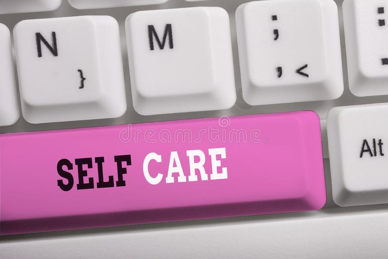 Word writing text Self Care. Business concept for the practice of taking action to improve one s is own health White pc. Word writing text Self Care. Business royalty free stock image