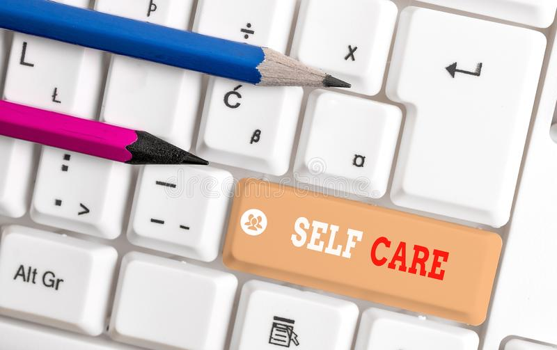 Word writing text Self Care. Business concept for the practice of taking action to improve one s is own health White pc. Word writing text Self Care. Business stock images