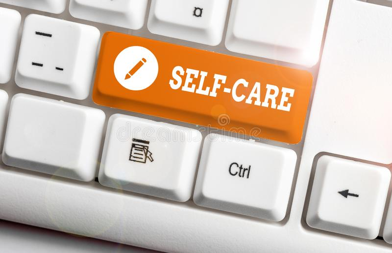 Word writing text Self Care. Business concept for the practice of taking action to improve one s is own health White pc. Word writing text Self Care. Business stock photos