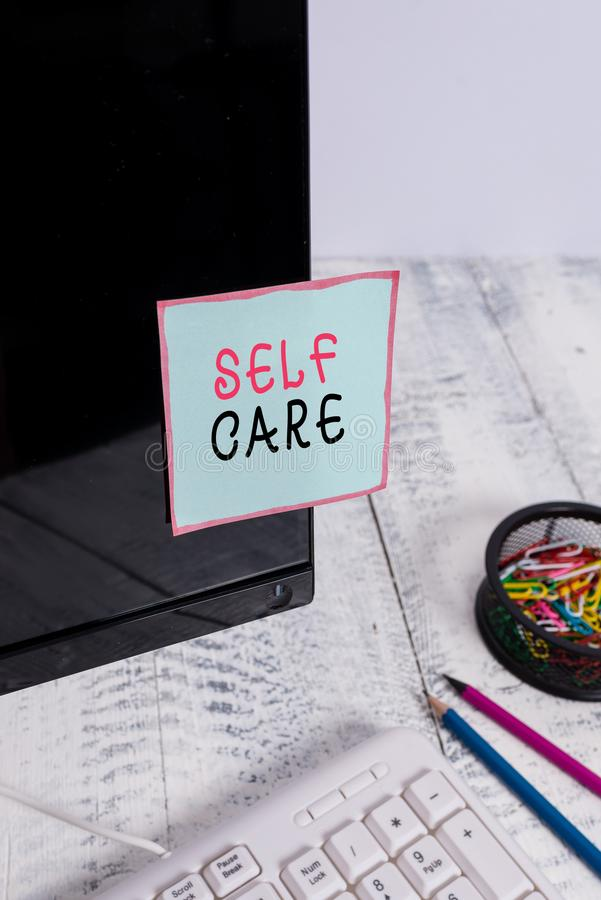 Word writing text Self Care. Business concept for the practice of taking action to improve one s is own health Note. Word writing text Self Care. Business photo stock photography