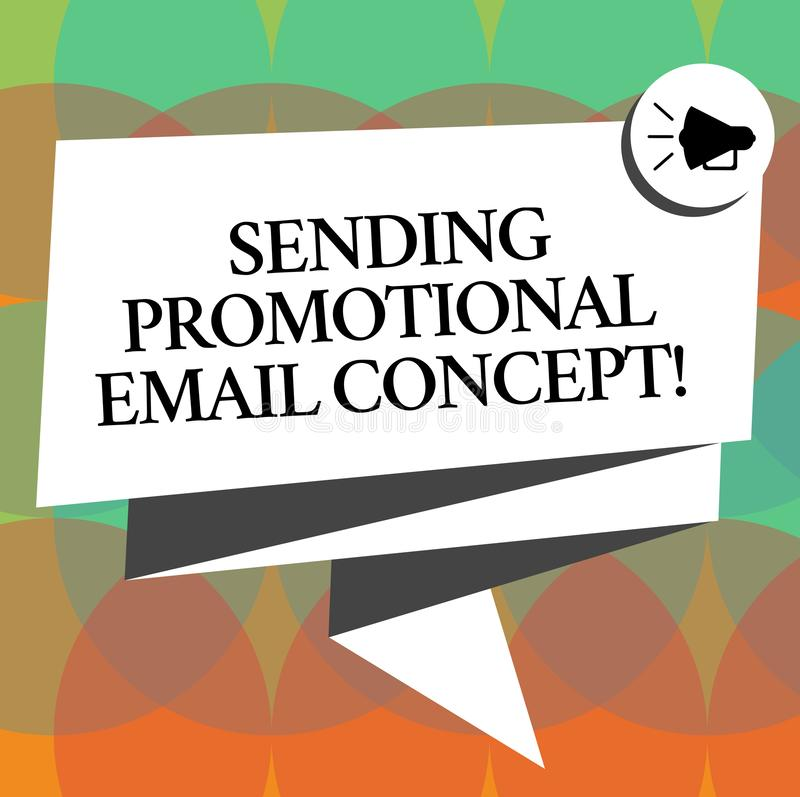 Word writing text Sending Promotional Email Concept. Business concept for Online marketing modern advertising Folded 3D royalty free illustration