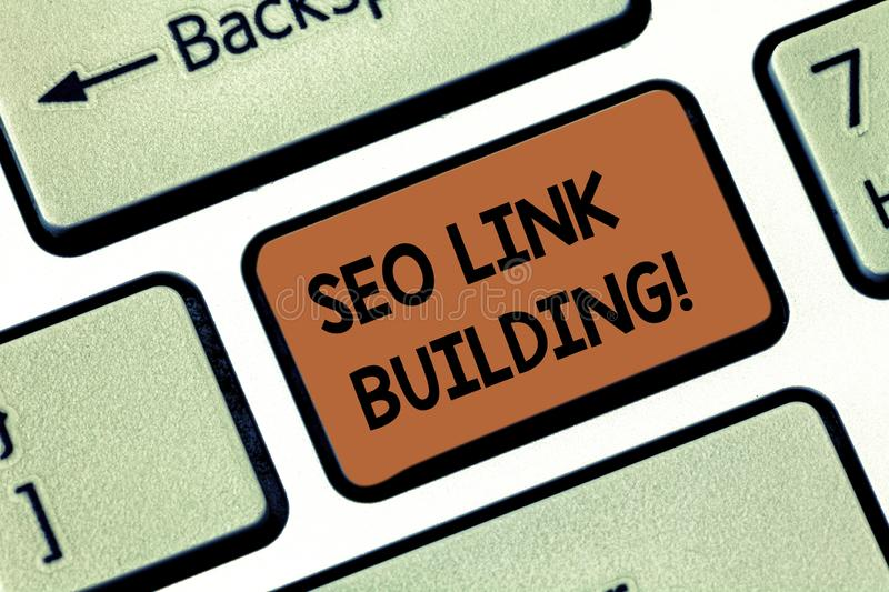 Word writing text Seo Link Building. Business concept for getting other websites to link back your website Keyboard key. Intention to create computer message royalty free stock photography