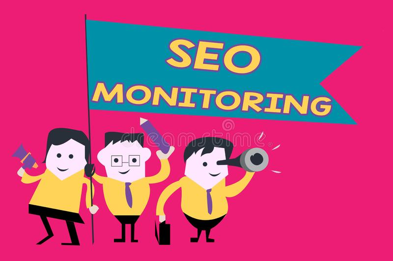 Word writing text Seo Monitoring. Business concept for Tracking the progress of strategy made in the platform.  vector illustration