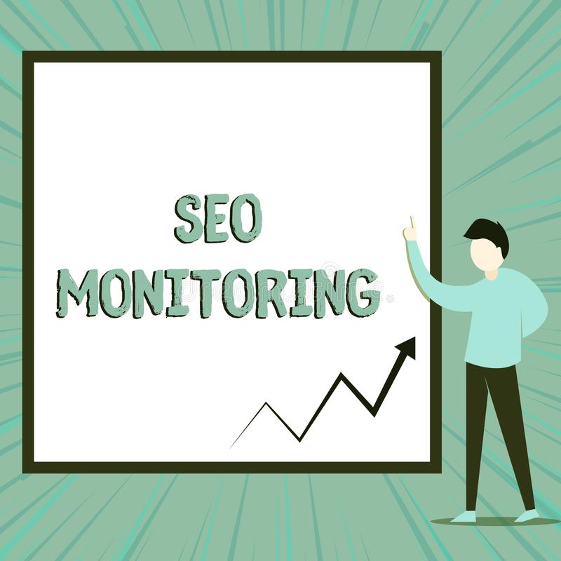 Word writing text Seo Monitoring. Business concept for Tracking the progress of strategy made in the platform View young. Word writing text Seo Monitoring stock illustration