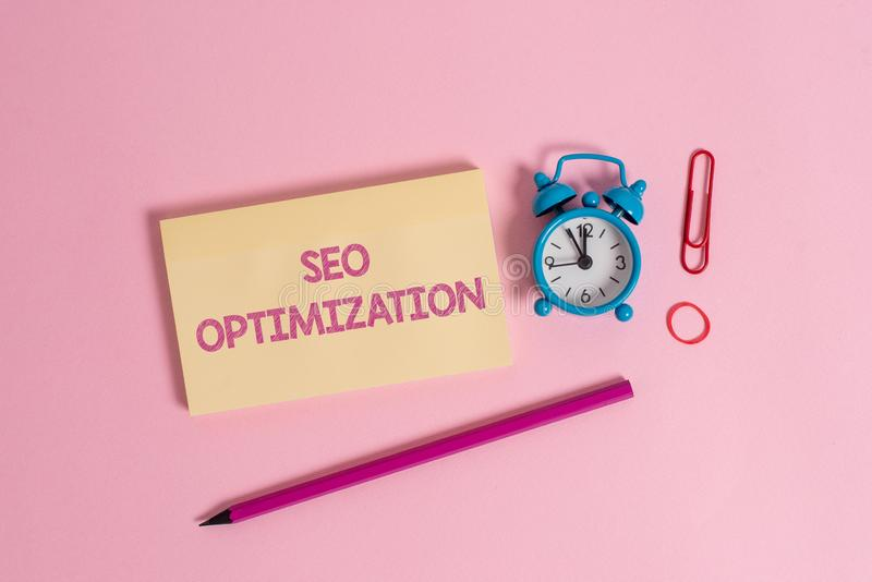 Word writing text Seo Optimization. Business concept for process of affecting online visibility of website or page. Word writing text Seo Optimization. Business royalty free stock image