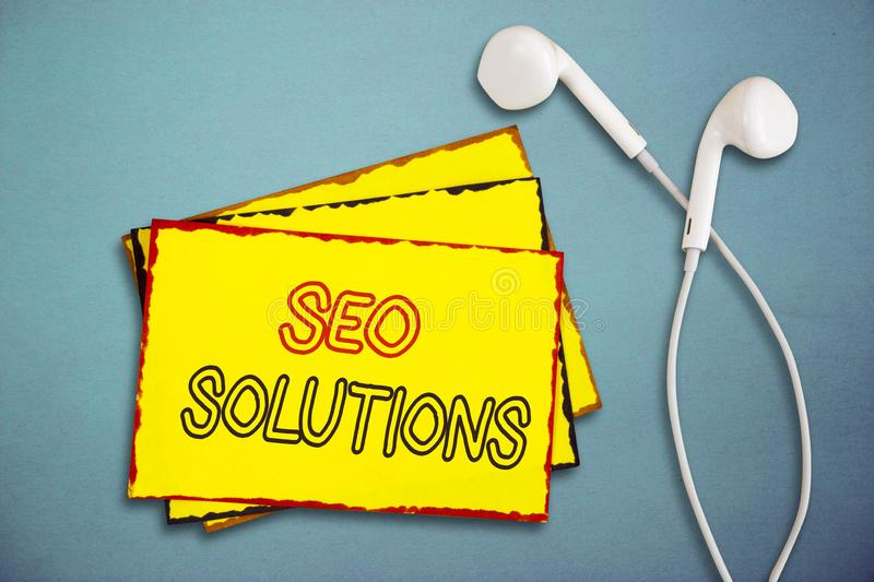 Word writing text Seo Solutions. Business concept for Search Engine Result Page Increase Visitors by Rankings stock images