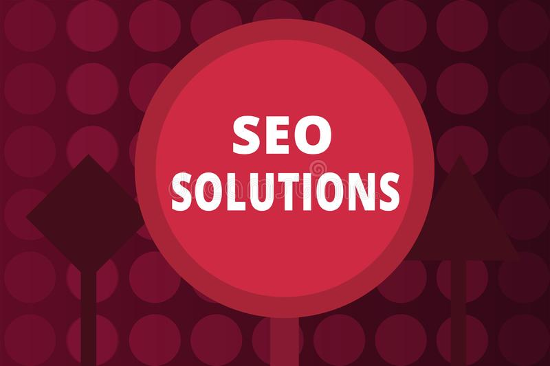 Word writing text Seo Solutions. Business concept for Search Engine Result Page Increase Visitors by Rankings.  royalty free illustration