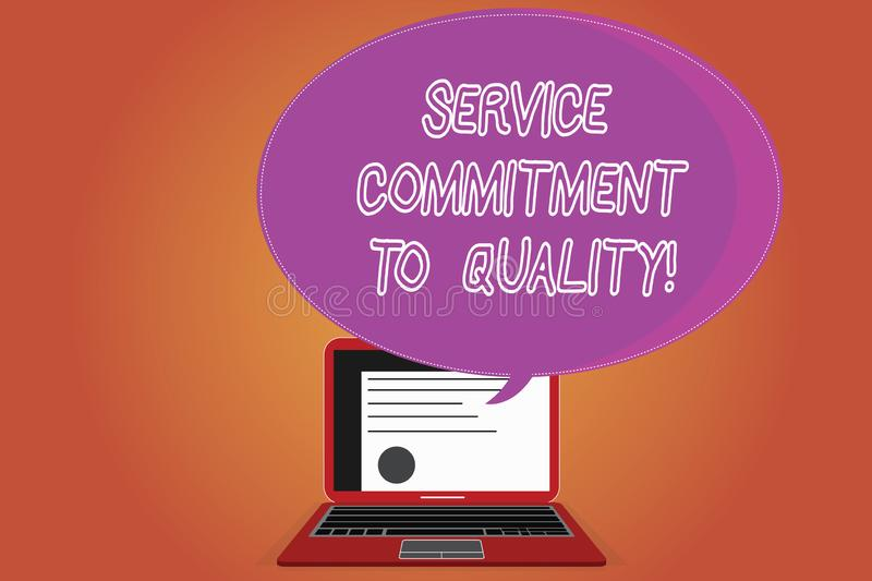 Word writing text Service Commitment To Quality. Business concept for Excellent high quality good Assistance Certificate Layout on. Laptop Screen and Blank stock photo