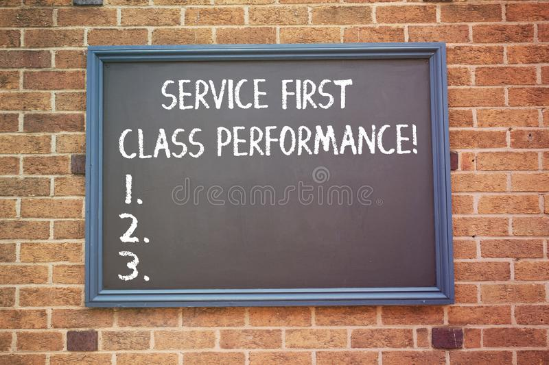 Word writing text Service First Class Perforanalysisce. Business concept for Great services High quality top the best. Word writing text Service First Class royalty free stock photo