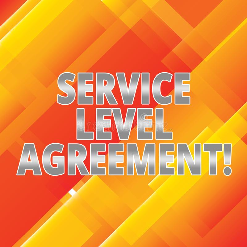 Word writing text Service Level Agreement. Business concept for Commitment between a service provider and a client Slanting and. Overlapping Color of vector illustration