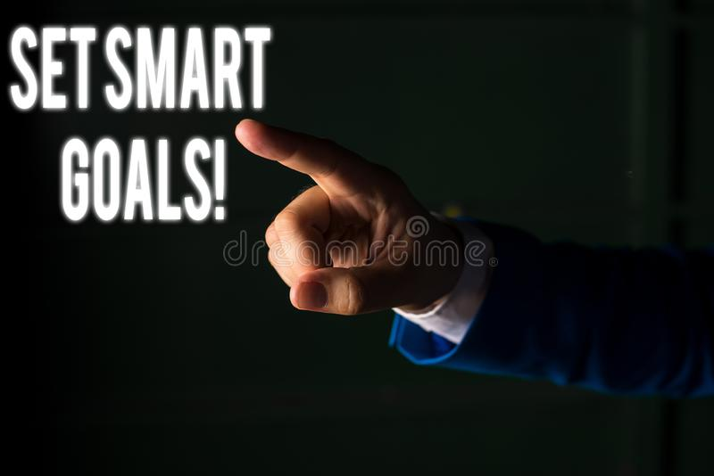Word writing text Set Smart Goals. Business concept for list to clarify your ideas focus efforts use time wisely. Word writing text Set Smart Goals. Business royalty free stock photos