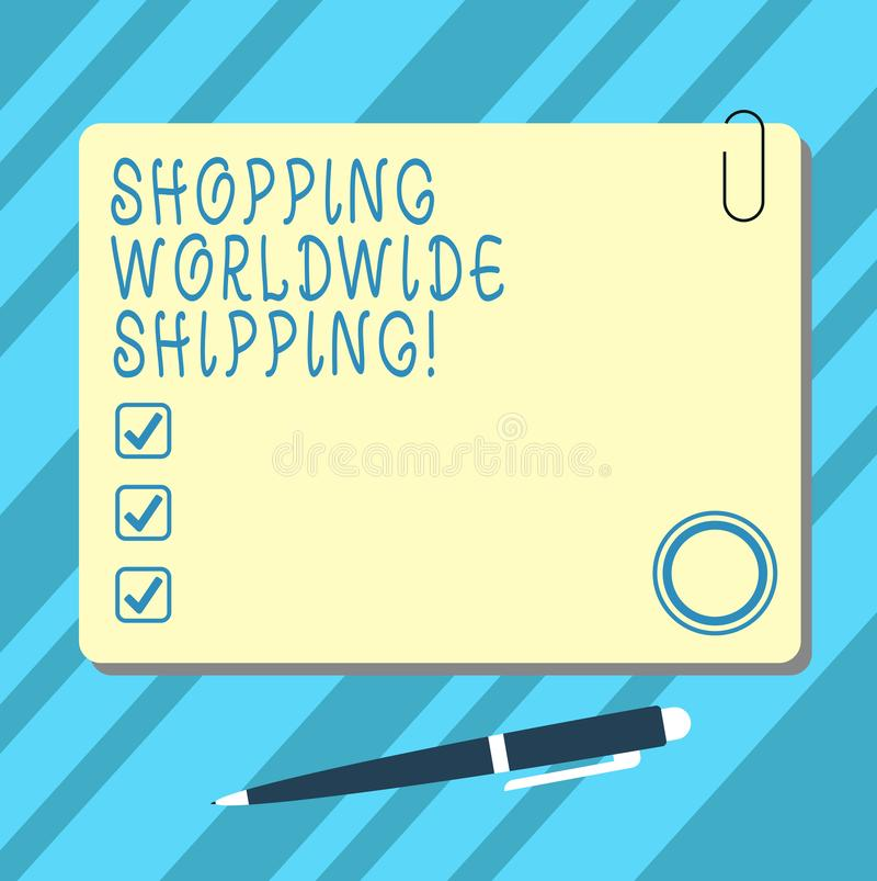 Word writing text Shopping Worldwide Shipping. Business concept for Directly buy online with international shipping Blank Square. Color Board with Magnet Click stock photo