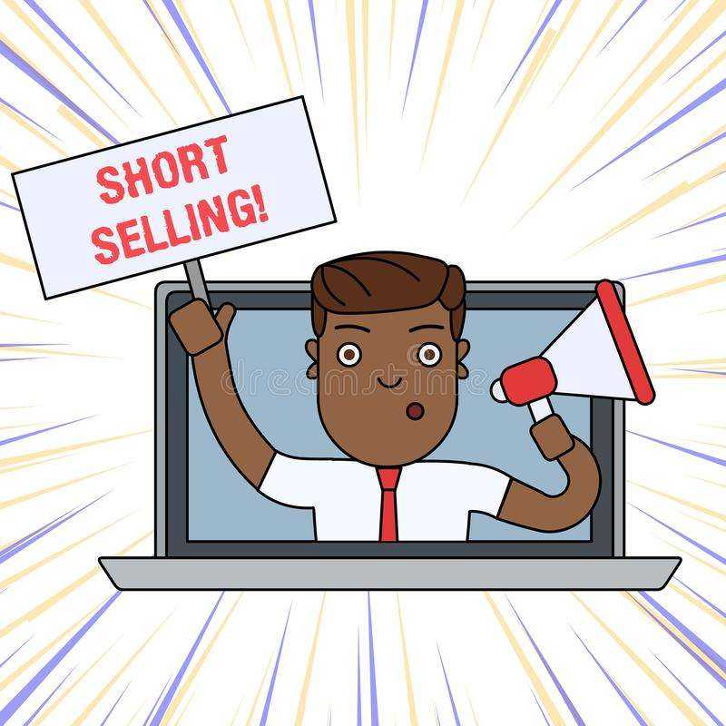 Word writing text Short Selling. Business concept for Act of selling an asset that you do not currently own Man Speaking. Word writing text Short Selling stock illustration