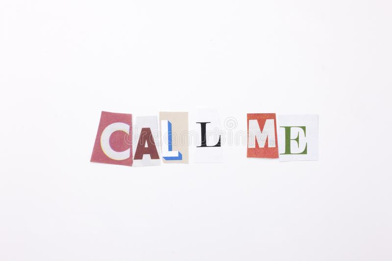 A word writing text showing concept of Call me made of different magazine newspaper letter for Business case on the white backgrou stock image