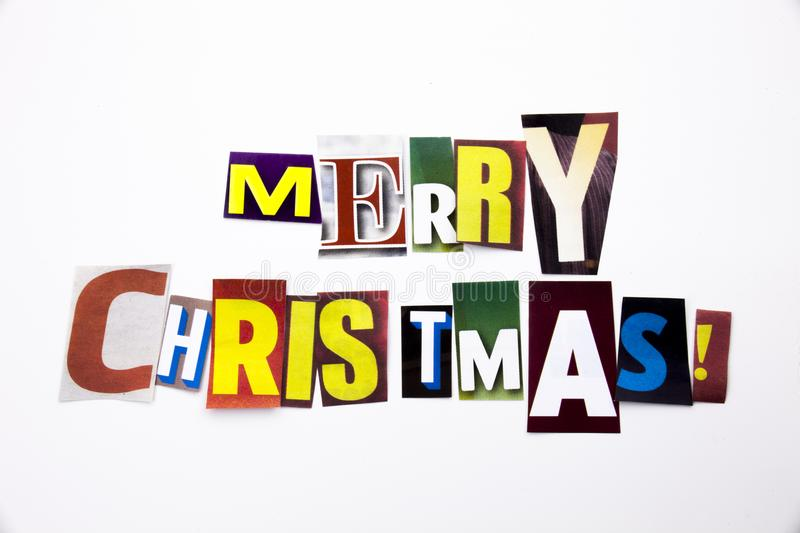 A word writing text showing concept of Merry Christmas made of different magazine newspaper letter for Business case on the white stock image