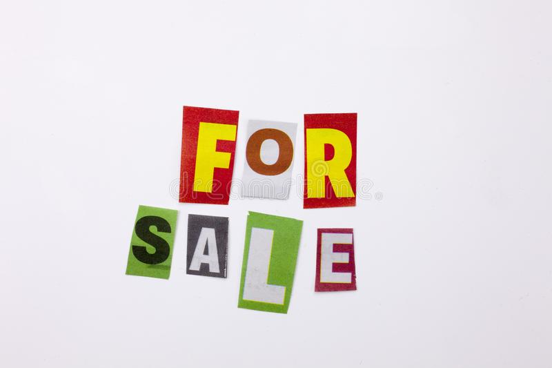 A word writing text showing concept of for sale made of different magazine newspaper letter for Business case on the white backgro stock images