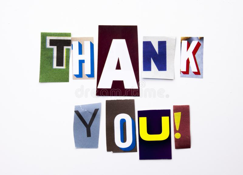 A word writing text showing concept of Thank You, Thanking made of different magazine newspaper letter for Business case on the wh stock image