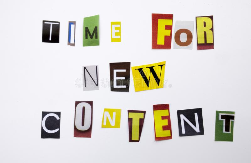 A word writing text showing concept of Time For New Content made of different magazine newspaper letter for Business case on the w. Time For New Content made of royalty free stock image