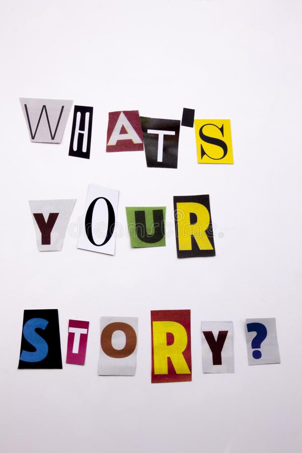 A word writing text showing concept of WHAT`S YOUR STORY made of different magazine newspaper letter for Business case on the whi. Te background royalty free stock photography