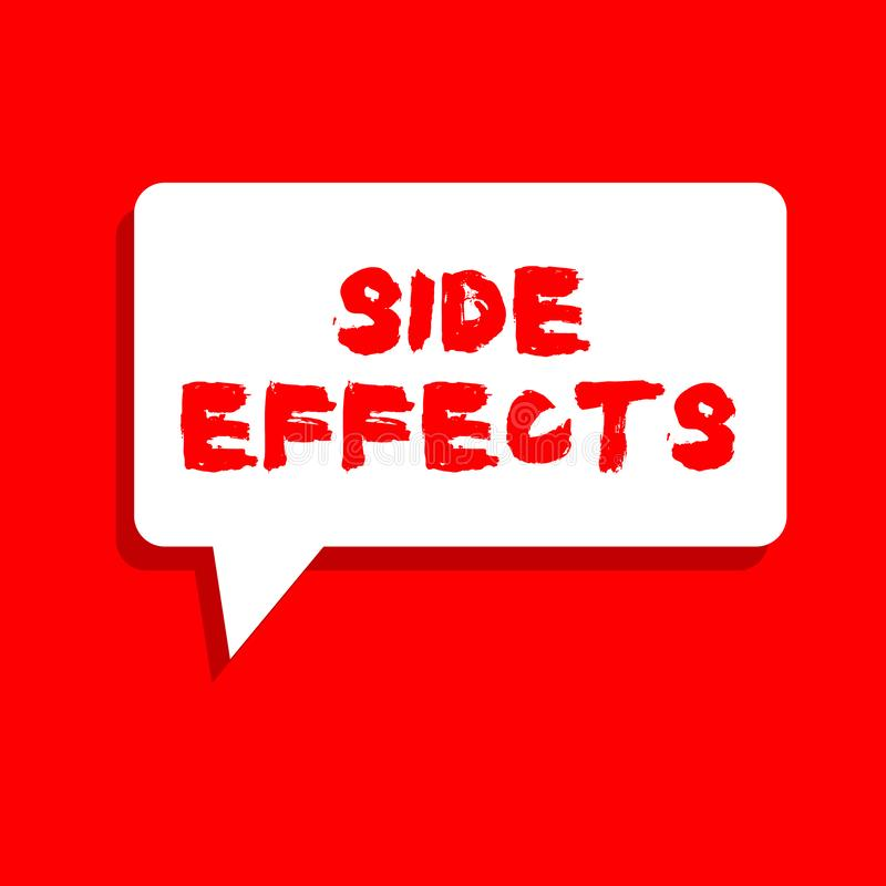 Word writing text Side Effects. Business concept for An unintended negative reaction to a medicine and treatment.  vector illustration