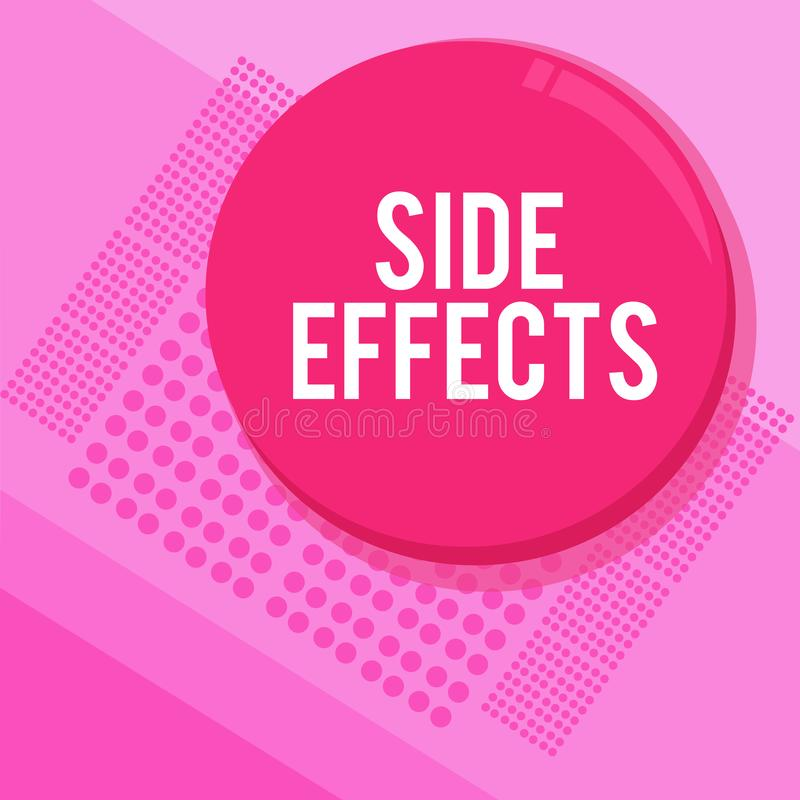 Word writing text Side Effects. Business concept for An unintended negative reaction to a medicine and treatment.  royalty free illustration