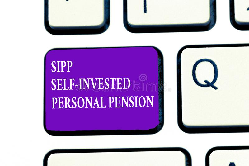 Word writing text Sipp Self Invested Personal Pension. Business concept for Preparing the future Save while young royalty free stock photo