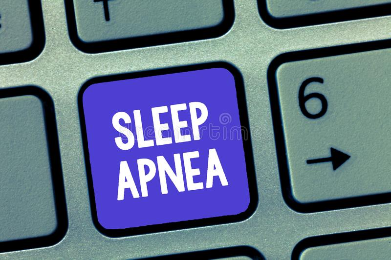 Word writing text Sleep Apnea. Business concept for The temporary stoppage of breathing during sleep Snoring stock photo
