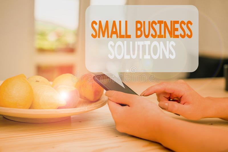 Word writing text Small Business Solutions. Business concept for a Company to solve Specific Trade problems woman using. Word writing text Small Business stock images