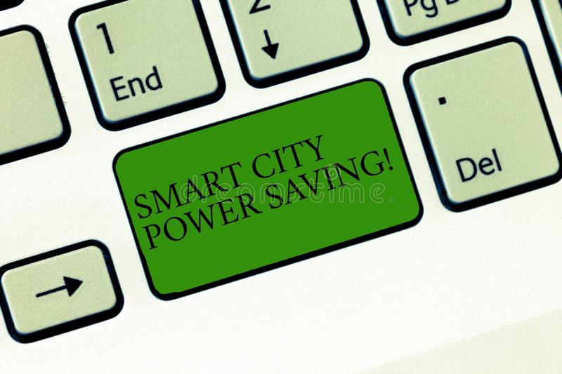 Word writing text Smart City Power Saving. Business concept for Connected technological cities electricity savings. Keyboard key Intention to create computer stock image